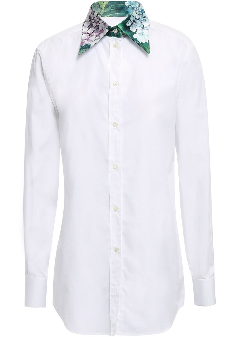 Dolce & Gabbana Woman Cotton And Silk-blend Poplin Shirt White