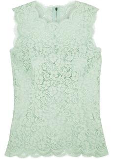 Dolce & Gabbana Woman Cotton-blend Corded Lace Top Mint