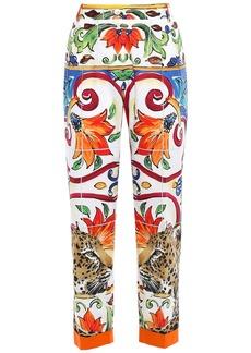 Dolce & Gabbana Woman Cotton-poplin Tapered Pants Multicolor