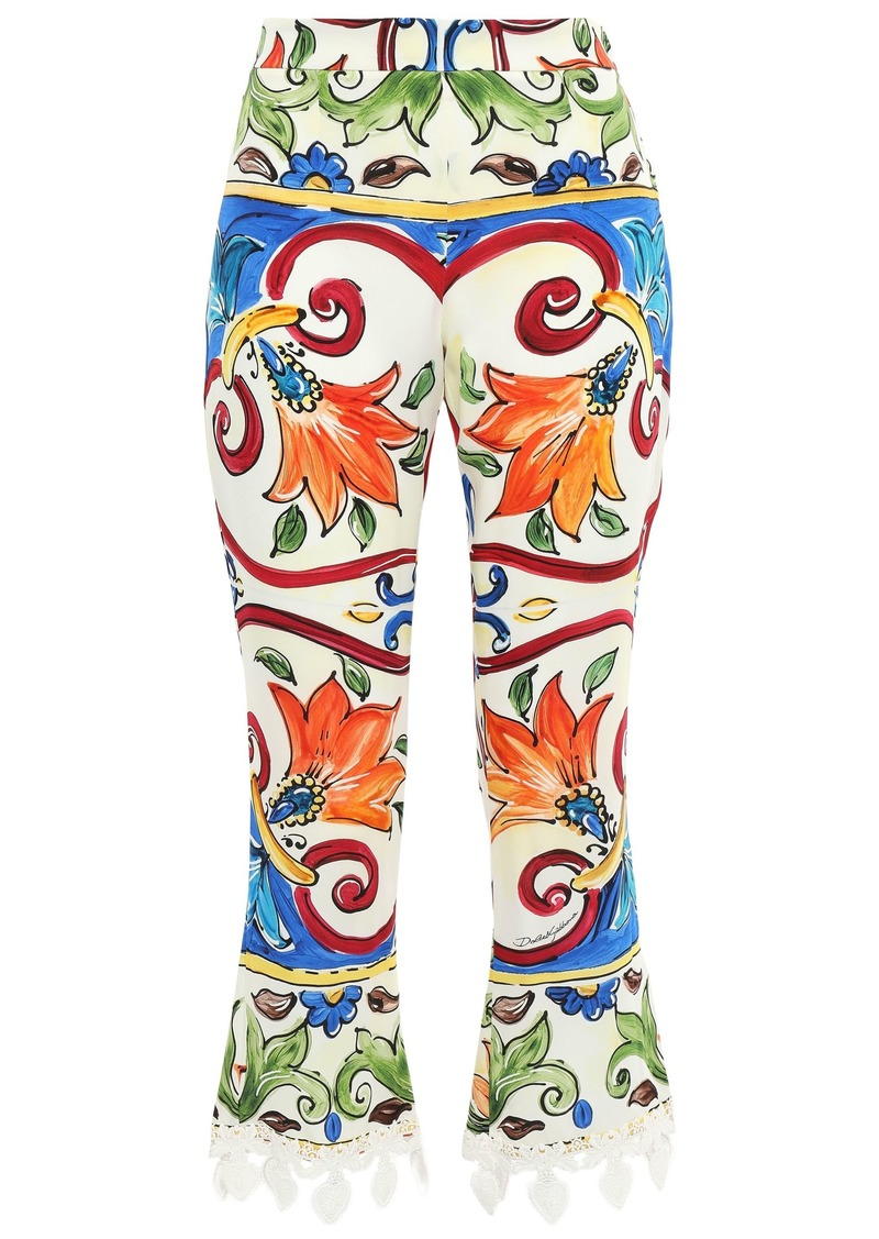 Dolce & Gabbana Woman Crochet-trimmed Printed Silk-blend Crepe Kick-flare Pants Off-white