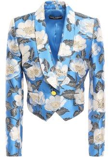 Dolce & Gabbana Woman Cropped Brocade Jacket Azure