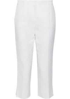 Dolce & Gabbana Woman Cropped Cotton And Silk-blend Jacquard Slim-leg Pants White