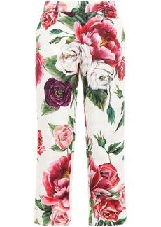 Dolce & Gabbana Woman Cropped Floral-print Cotton-blend Jacquard Slim-leg Pants Ivory
