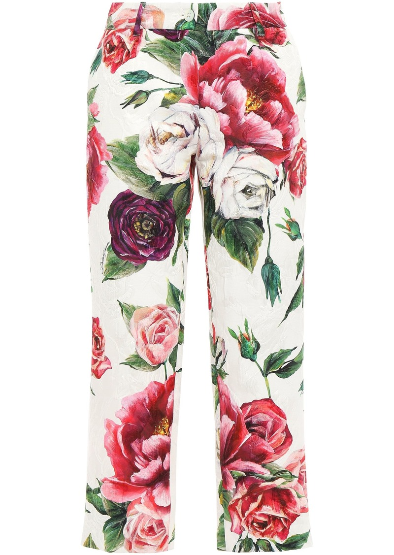 Dolce & Gabbana Woman Cropped Floral-print Cotton-blend Jacquard Slim-leg Pants Ivory