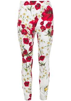 Dolce & Gabbana Woman Cropped Floral-print Crepe Skinny Pants White