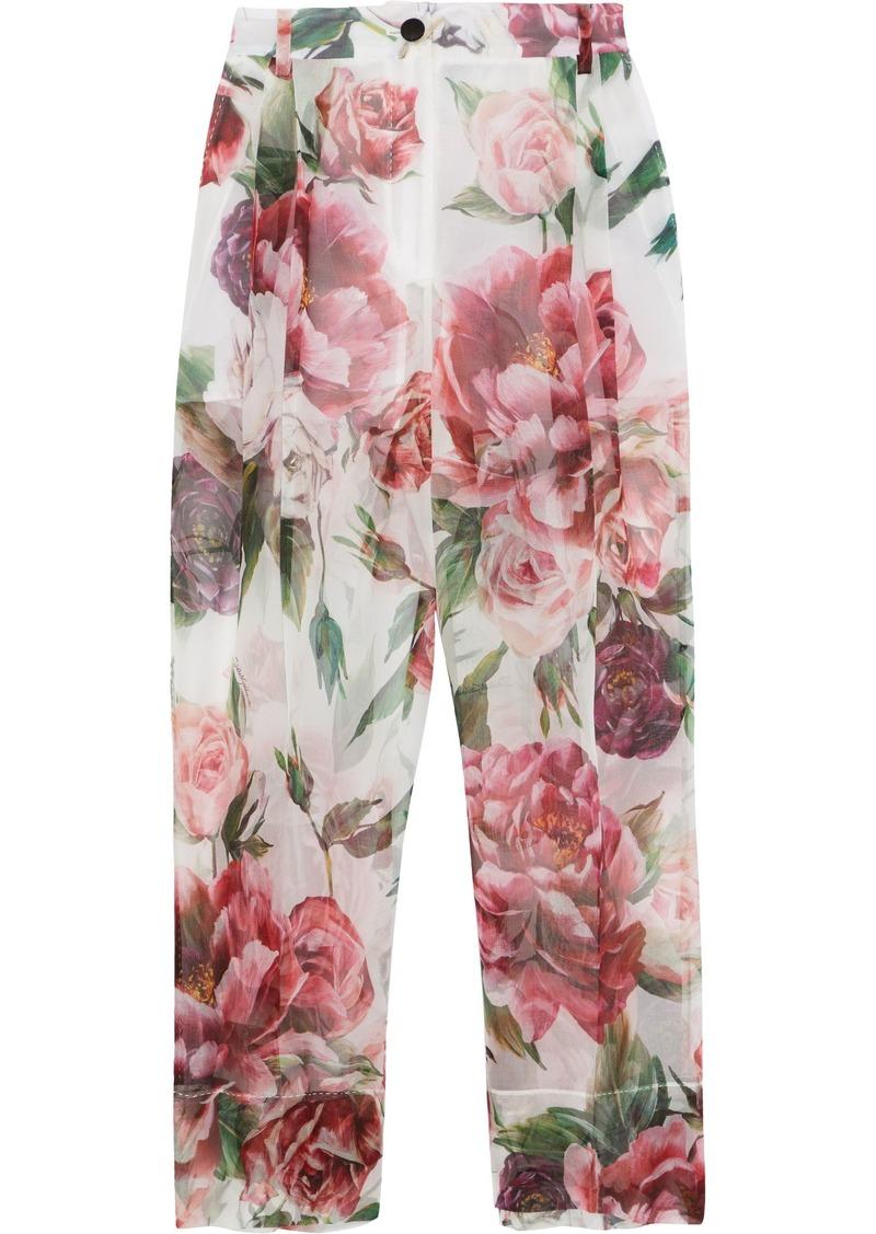 Dolce & Gabbana Woman Cropped Floral-print Silk-chiffon Straight-leg Pants White