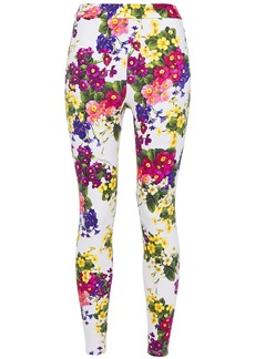 Dolce & Gabbana Woman Cropped Floral-print Stretch-jersey Leggings White