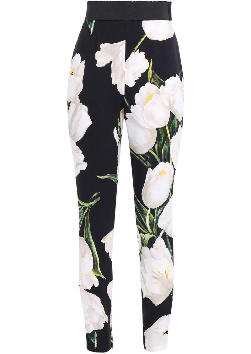 Dolce & Gabbana Woman Cropped Floral-print Crepe Slim-leg Pants Black