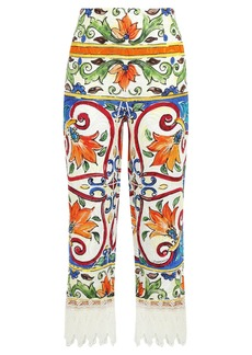 Dolce & Gabbana Woman Cropped Lace-trimmed Printed Cotton-blend Jacquard Wide-leg Pants Off-white