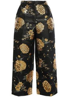 Dolce & Gabbana Woman Cropped Metallic Floral-jacquard Wide-leg Pants Black