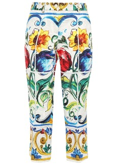 Dolce & Gabbana Woman Cropped Printed Cotton-blend Jacquard Tapered Pants White