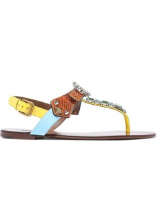 Dolce & Gabbana Woman Crystal-embellished Color-block Ayers And Patent-leather Sandals Orange