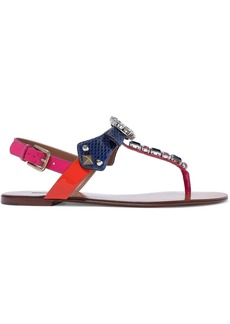 Dolce & Gabbana Woman Crystal-embellished Color-block Ayers And Patent-leather Sandals Blue