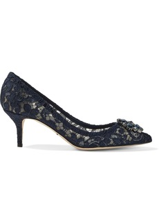 Dolce & Gabbana Woman Crystal-embellished Corded Lace Pumps Navy