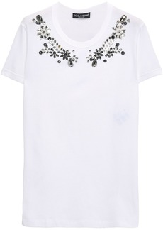 Dolce & Gabbana Woman Crystal-embellished Cotton-jersey T-shirt White