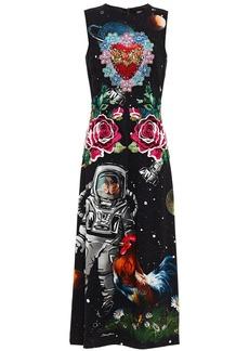 Dolce & Gabbana Woman Crystal-embellished Embroidered Printed Crepe Midi Dress Black