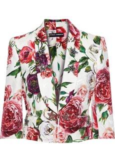 Dolce & Gabbana Woman Crystal-embellished Floral-print Cotton-blend Jacquard Jacket White