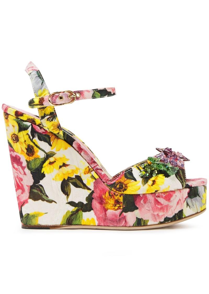 Dolce & Gabbana Woman Crystal-embellished Floral-print Cotton-blend Platform Sandals White