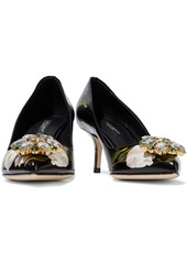 Dolce & Gabbana Woman Crystal-embellished Floral-print Glossed-leather Pumps Black
