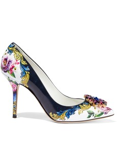 Dolce & Gabbana Woman Crystal-embellished Floral-print Glossed-leather Pumps Multicolor