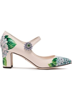 Dolce & Gabbana Woman Crystal-embellished Floral-print Patent-leather Mary Jane Pumps Cream
