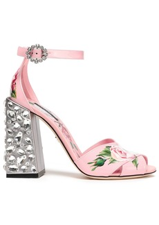 Dolce & Gabbana Woman Crystal-embellished Floral-print Patent-leather Sandals Baby Pink
