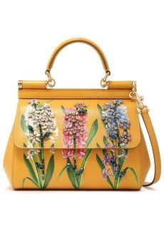 Dolce & Gabbana Woman Crystal-embellished Floral-print Textured-leather Shoulder Bag Marigold