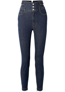 Dolce & Gabbana Woman Crystal-embellished High-rise Skinny Jeans Dark Denim