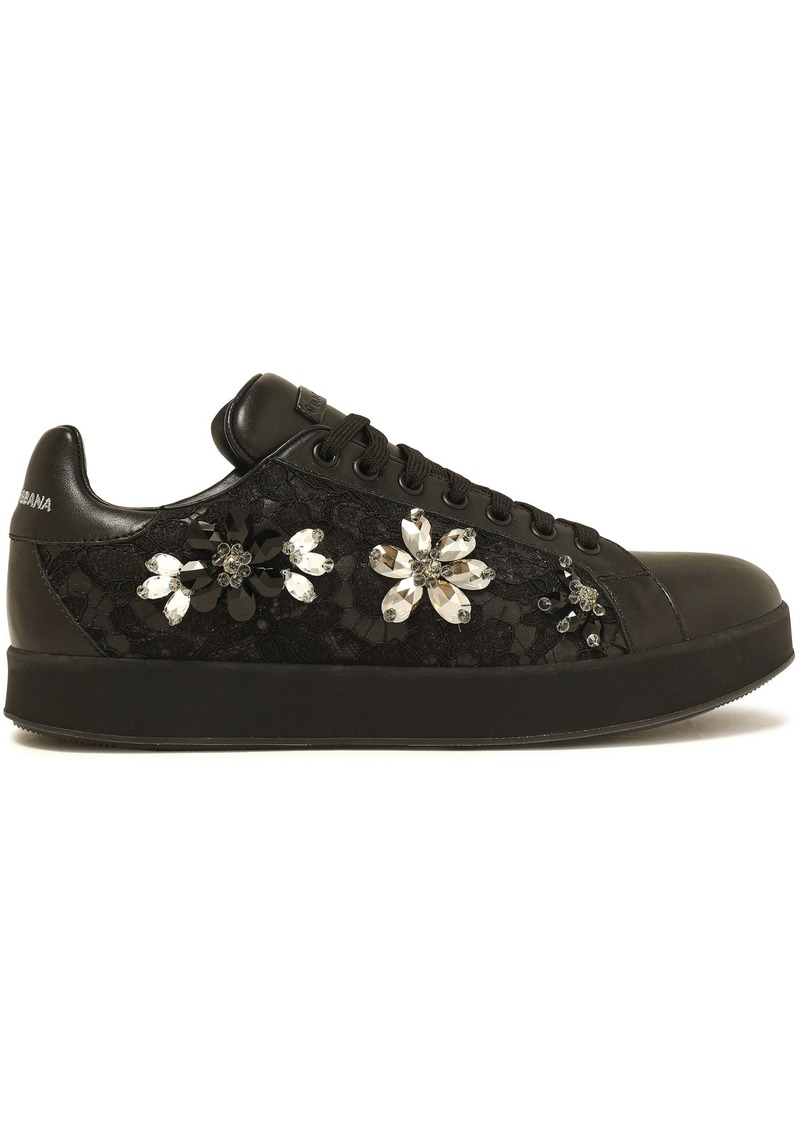 Dolce & Gabbana Woman Crystal-embellished Lace-paneled Leather Sneakers Black