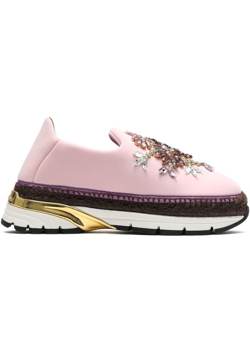 Dolce & Gabbana Woman Crystal-embellished Neoprene Platform Slip-on Sneakers Baby Pink