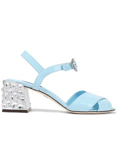 Dolce & Gabbana Woman Crystal-embellished Patent-leather Sandals Sky Blue