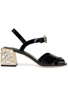 Dolce & Gabbana Woman Crystal-embellished Patent-leather Sandals Black
