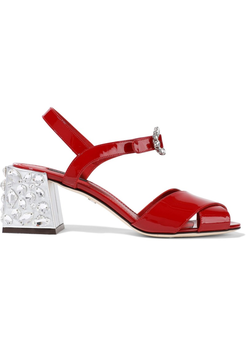 Dolce & Gabbana Woman Crystal-embellished Patent-leather Sandals Red