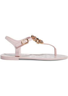 Dolce & Gabbana Woman Crystal-embellished Patent Leather-trimmed Rubber Sandals Baby Pink