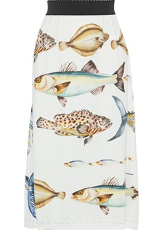 Dolce & Gabbana Woman Crystal-embellished Printed Crepe Midi Skirt Ivory