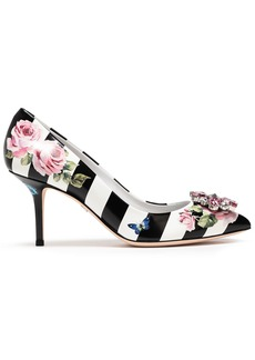 Dolce & Gabbana Woman Crystal-embellished Printed Leather Pumps Black