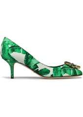 Dolce & Gabbana Woman Crystal-embellished Printed Silk-satin Pumps Green