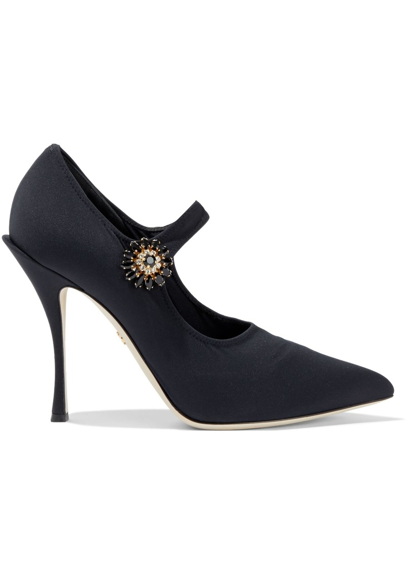 Dolce & Gabbana Woman Crystal-embellished Stretch-knit Mary Jane Pumps Black