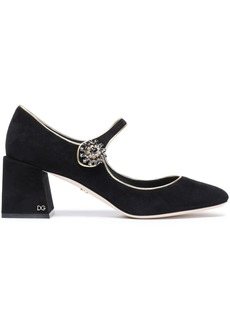 Dolce & Gabbana Woman Crystal-embellished Suede Mary Jane Pumps Black