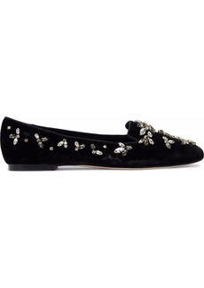 Dolce & Gabbana Woman Crystal-embellished Velvet Slippers Black