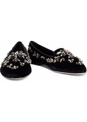 Dolce & Gabbana Woman Crystal-embellished Velvet Slippers Black