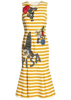 Dolce & Gabbana Woman Cutout Appliquéd Striped Cotton-blend Dress Saffron