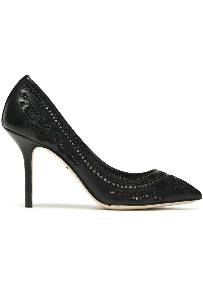 Dolce & Gabbana Woman Cutout Embroidered Leather And Mesh Pumps Black