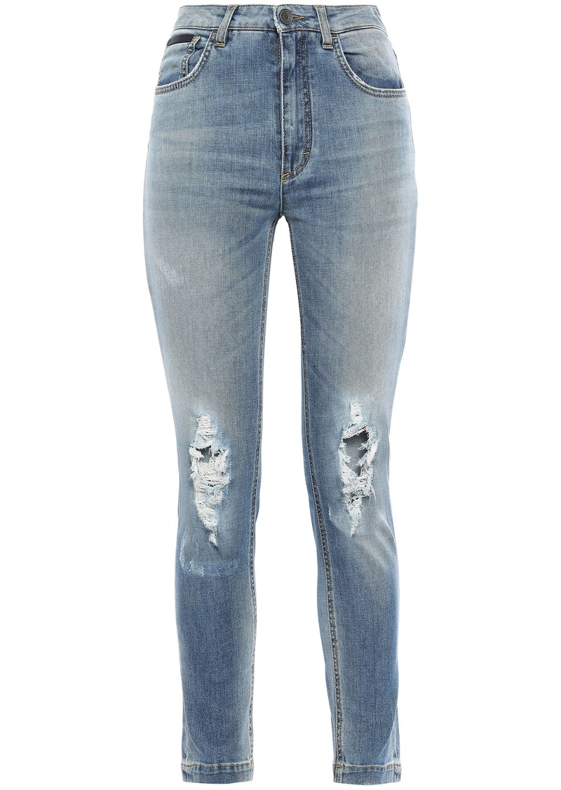 Dolce & Gabbana Woman Distressed High-rise Skinny Jeans Mid Denim