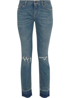 Dolce & Gabbana Woman Distressed Low-rise Skinny Jeans Mid Denim