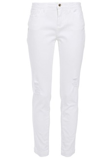 Dolce & Gabbana Woman Distressed Mid-rise Slim-leg Jeans White