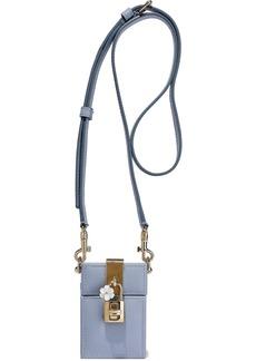 Dolce & Gabbana Woman Dolce Box Cinderella Textured-leather Shoulder Bag Light Blue