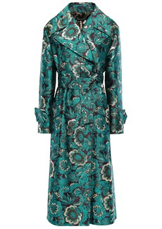 Dolce & Gabbana Woman Double-breasted Brocade Coat Teal