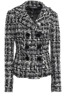 Dolce & Gabbana Woman Double-breasted Wool-blend Bouclé-tweed Jacket Gray