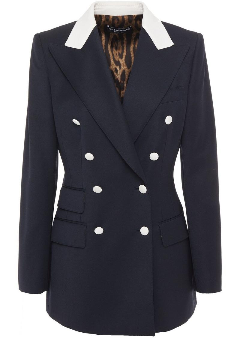 Dolce & Gabbana Woman Double-breasted Wool-twill Blazer Midnight Blue